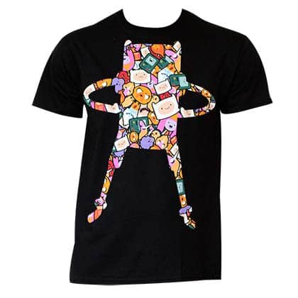 Men's Cotton Adventure Time Super Pop Finn Pattern Tee Shirt