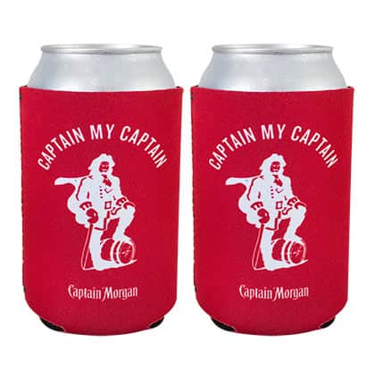 Captain Morgan Red Can Cooler Insulator Set Of 2