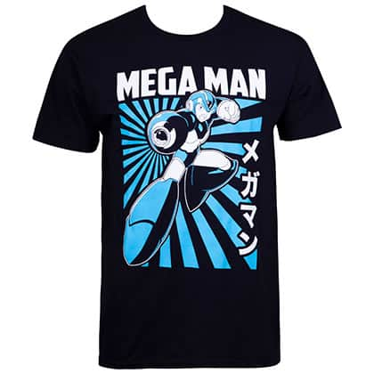Mega Man Kanji Portrait Black Tee Shirt