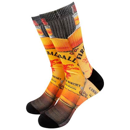Fireball Whiskey Bottle Print Socks