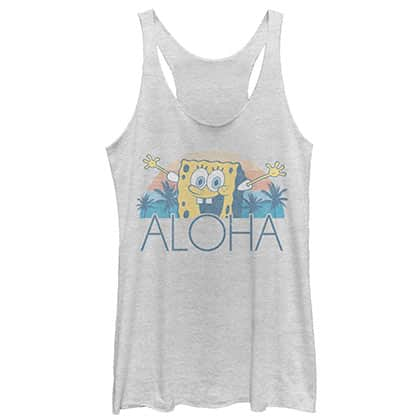 SpongeBob Squarepants Women's Grey Aloha Racerback Tank Top