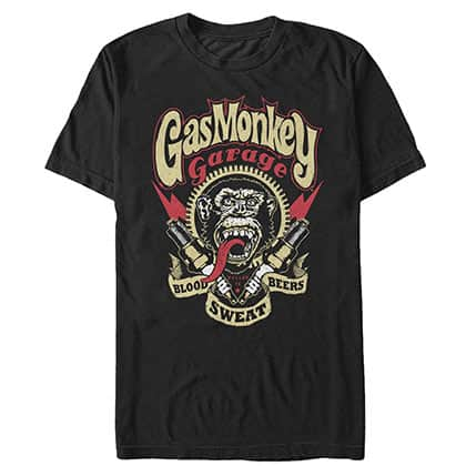 Gas Monkey Men's Black Blood Sweat Beers T-Shirt
